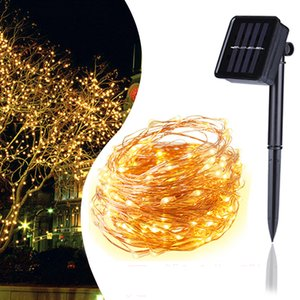 ingrosso illuminazione fata-Crestech LED Solar String String Light Rame Wire Lamp Outdoor Solar Fairy Lights m m m Christmas Garland String Light per wedding Garden