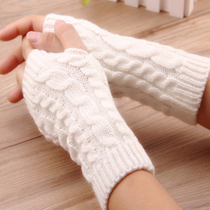 2020 Winter Unisex Women Fingerless Knitted Long Gloves Arm Warmer Twist Wool Half Finger Mittens 12pairs lot
