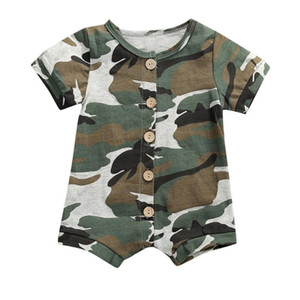 Wholesale baby boy camouflage clothes resale online - 3 Colors Baby Boy Clothes Newborn Infant Rompers Baby Girls Boys Short Sleeve Stripe Romper Clothes Camouflage Jumpsuit