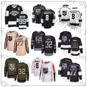 Wholesale Custom Los Angeles Kings Jersey 99 Wayne Gretzky 8 Drew Doughty 11 Anze Kopitar 32 Jonathan Quick 17 Ilya Kovalchuk 77 Jeff Carter USA Flag
