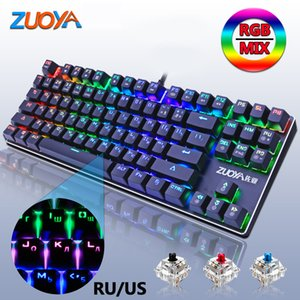 Gaming Mechanical Keyboard Backlit Keyboard Blue Red Switch 87key Anti-ghosting LED USB Wired Russia US For Gamer PC Laptop