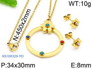 New Women stainless natural blue red turquoise bead flower round circle charms jewelry Mujer pendientes oso earring and necklace set bears