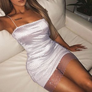 Wholesale Casual women summer dress Summer Sexy Stitching Mesh Transparent Strap Club Wearing sexy party dress women