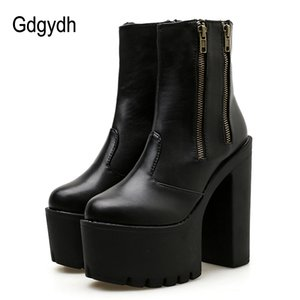 Wholesale Gdgydh Women Ankle Leather Boots Ultra High Platform Heels Black High Heels Female Shoes Rubber Sole Zipper Casual Shoes