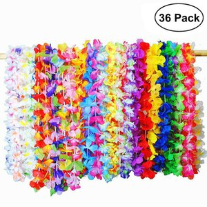 Wholesale 36 Hawaiian Artificial Flowers Leis Garland Necklace Fancy Dress Hawaii Beach Flowers DIY Party Decor Random Color