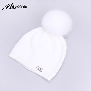 Wholesale 100 Fur Pompom Hat Women Knitted Beanies Hats Solid Black White Soft Warm Winter Twist Skullies Fluffy Pom Pom Caps