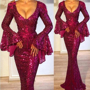 Dark Grape Sequined Poet Long Sleeve Mermaid Evening Gowns Sexy Plung V Neck Sparkle Long Formal Pageant Celebrity Gowns Arabic Wear Prom on Sale