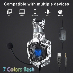 camuflaje ps4 al por mayor-Onikuma K8 PS4 Auriculares Camuflaje por cable PC Gamer Gamer Estéreo Auriculares con micrófono LED Flash Lights para Xbox One Laptop Tablet