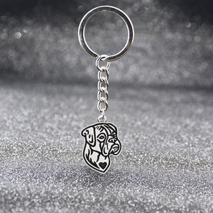 Vintage Silver 11 Style Boxer Basset Hound Beagle Labrador Dogs Keychain Pet Dog Key Chain Keyring Bag Charm For Women Men Girls