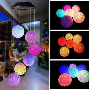 LED Solar Wind Chime Light Hanging Spiral Lamp Ball Wind Spinner Chimes Bell Lights For Christmas Outdoor Home Garden Decor
