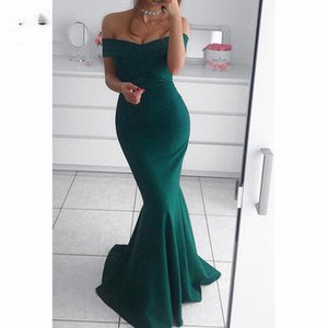 Teal Mermaid Off Shoulder Evening Dresses Long Elastic Satin Zipper Back Short Sleeve Prom Gown Formal Evening Party Dress on Sale