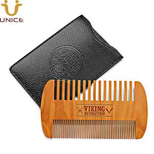 Wholesale double wood hair combs resale online - MOQ100pcs Amazon Hot Fine Coarse Teeth Double Sides Wood Combs with PU Case Custom LOGO Wooden Hair Comb Dual Action Beard Comb