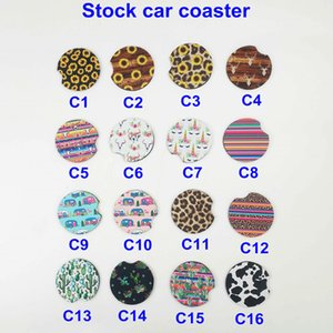 Wholesale Neoprene Car Cup Mat Contrast Mug Coaster Cactus Flower Teacup Rainbow Leopard colors Pad for Home Decor Accessories