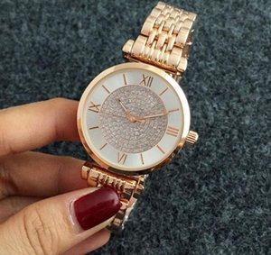 Wholesale Roman numerals with drill dial show unique taste quality dress with women s clothing style steel metal strap quartz watch