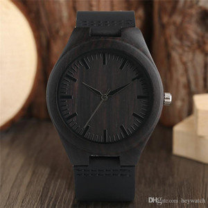 Modern Full Black Natural Sandalwood High Quality Genuine Leather Watchband Bamboo Hand-made Analog Quartz Wristwatch Men Sports Clock