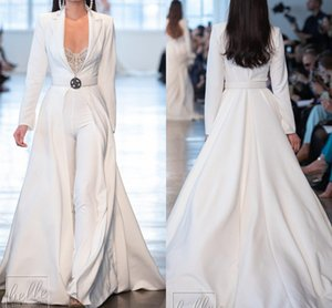 Berta White Prom Dresses Jumpsuits Long Sleeve Satin Long Jackets Evening Gowns Plus Size robes de soirée Pants Suits Party Dress