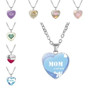 Wholesale 2019 Hot Moms Fashion Jewelry Styles Love You MOM Letter Necklace Glass Heart Pendant Gemstone Necklaces Wife Mother s Day Gift M097F