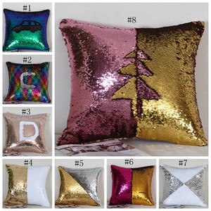 Wholesale sequins resale online - Sequin Pillow Covers Glitter Mermaid Cushion Covers Reversible Sequins Pillow Case Magical Color Home Decor Styles CYL YW1240