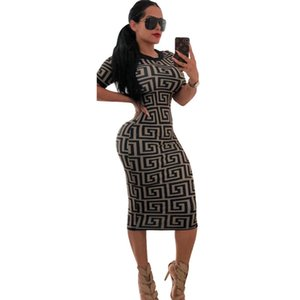 Wholesale Sexy Ladies Print Buttock Bodycon Dresses Fashion Summer Black Womens Dresses Crew Neck Short Sleeve Womens Dresses