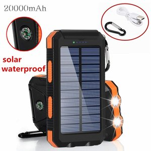Wholesale 20000mAh Portable Solar power bank battery charger Power Bank with LED flashlight and compass for Mobile Phones outdoor camping