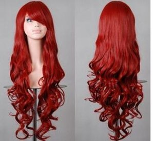 Wholesale WIG Hot heat resistant Party hair gt gt gt Fashion Dark Red Long Wavy Curly Anime party Cosplay Wig Full Wig