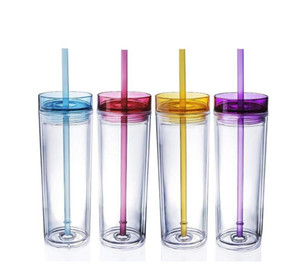 Wholesale 16oz Skinny Acrylic Tumbler with Lid and Straw ml Double Wall Clear Plastic Cup BPA Free oz straight water bottle Acrylic travel mug