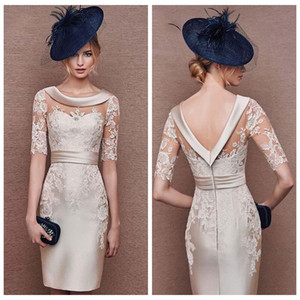 Wholesale 2019 Luxury Champagne Applique Short Formal Mother s Gown Customized Scoop Collar Half Sleeve Knee Length Mother of Bride Dress vestido de m