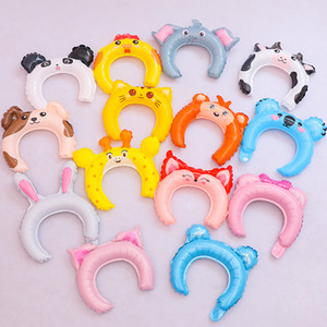 ingrosso orecchie di gatto hairbands-Di orecchie del coniglio Hairbands gonfiabili Band Balloon Testa adorabile Hair Sticks creativo regali del partito degli animali Elefante Gatto Fog Dog Pig qp J1