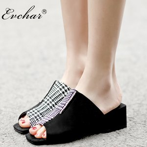 Wholesale EVCHAR Women med Heels Slides with Crystal peep Toe Gingham fish mouth Strip Shoes Slippers Zapatos Black yellow Plus size