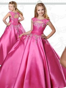 Girl's Pageant Dresses for Teens Ritzee with Jewel Neck and Floor Length Fuchsia Taffeta Ball-Gown Flower Girl Dresses for Communion Gowns