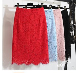 2019 new women's korean fashion high waist bodycon sexy eyelash lace solid color knee length pencil skirt plus size S M L XL