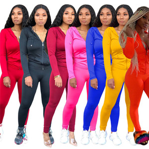Wholesale Women Designer Sweatsuit Jacket Leggings Piece Sets Solid Color Skinny Trousers Tracksuit Sports Casual Fashion Gym Jogger Suit
