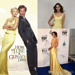 Wholesale Kate Hudson Yellow Evening Prom Dresses in How to Lose a Guy in Days In Movies Sexy Backless Celebrity Party Gowns Cheap