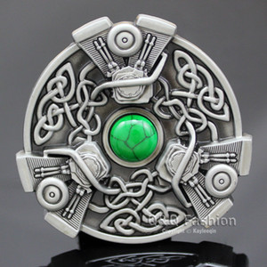 Men Trinity Knot Chopper V-Twin Western EVO Engine Motor Turquoise Belt Buckle Jewelry Hip Hop Party on Sale