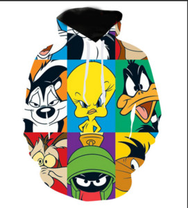 Wholesale New Fashion Cool Sweatshirt Hoodies D Print Mens Womens Casual Cartoon Looney Tunes Hot Style Streetwear Clothes RL0233