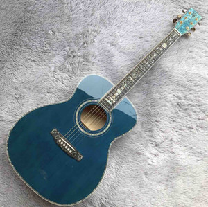Real Abalone Inlays Ebony Fingerboard OMs Solid Spruce Burst Maple Acoustic Electric Guitar