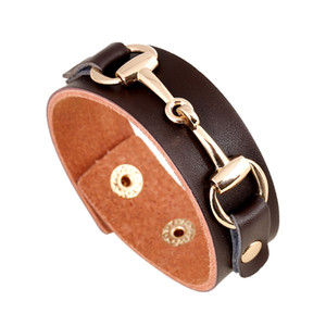 Wholesale Vintage wide leather bracelet leather Jewellery for women with snap cuff weistband men in charm student hip hop bangles
