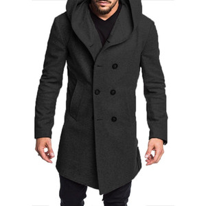 ZOGAA 2019 Autumn Woollen Coats For Men Long Trench Coat Mens Casual Outwear Solid Overcoat Mens Hooded Coats and Jackets