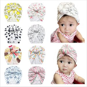 Wholesale Baby Hats Girl Doughnut India Skull Caps Floral Print Hat Ins Knot Turban Head Wraps Infant Beanie Headband Headgear Newborn Headwears C6154