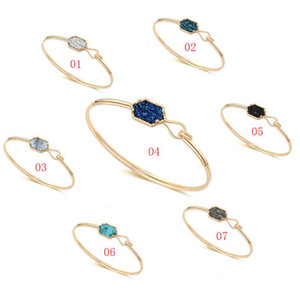 Wholesale Fashion Druzy Drusy Bracelet Silver Gold Plated Popular Faux Stone Turquoise Bracelets For Women Lady Jewelry Colors