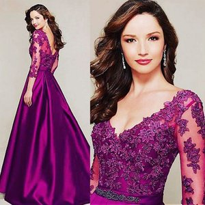 Wholesale long gowns three quarter sleeves resale online - A line V neck Three Quarter Sleeve Fuchsia Mother Of The Bride Dress With Appliques Long Satin Wedding Guest Gown