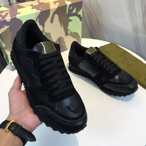 Wholesale 2019 Luxury Designer Camouflage Rivets Casual Shoes Man Woman Best Quailty Sneakers Flat Patchwork Spikes Lace Up Unisex Party Shoes