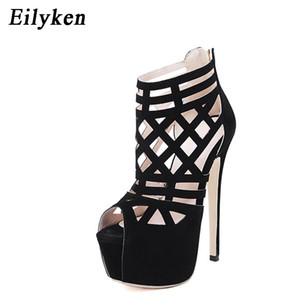 Designer Dress Shoes Eilyken Summer Women Sandals Pumps Party Platform Pumps Wedding Stiletto heels Open toe High Heels Dress Black