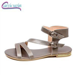 Wholesale Carzicuzin New Spring Gladiator Genuine Leather Sandals Daily Dating Sexy Casual Party Summer Flats Shoes Women Size