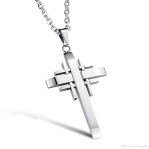 Wholesale Classical Cross Pendant Hip Hop Designer Jewelry Choker Iced Out Chains Mens Stainless Steel Jewelry Mens Necklace
