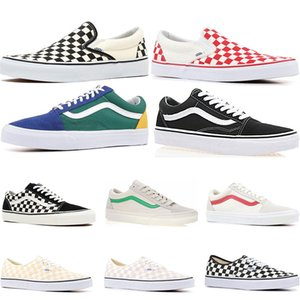 2019 Original Vans old skool sk8 hi mens womens canvas sneakers black white red YACHT CLUB Strawberry fashion skate casual shoes size 36-44
