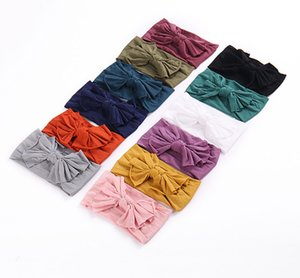 Wholesale Girls Bows headbands multicolor kids Bows tie princess hair bands children wide nylon elastic headwear baby kids hair accessories F4097