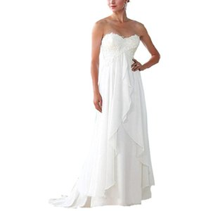 Wholesale Empire Waist Maternity Women Beach Chiffon Wedding Dresses Cheap Lace Applique Plus Size Pregnant Wedding Gowns Custom Made