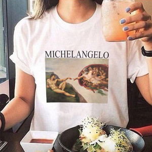 summer t shirts womens spaghetti off the shoulder tops for women Michelangelo Pattern print tee shirt femme aesthetic on Sale