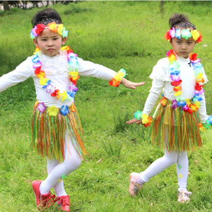 Wholesale A Set Hawaiian Party Artificial Flowers leis Garland Necklace Hawaii Beach Flowers Luau Summer Tropical Party Decoration